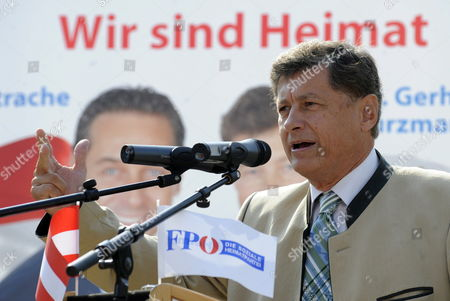 Leading Candidate of Austrian Freedom Party (fpoe) For Regional Elections in Styria Gerhard Kurzmann Holds a Speech During a Campaign Rally in Weiz Austria 24 September 2010 Austria Weiz