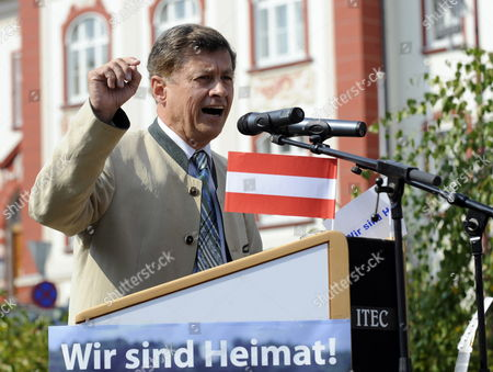 Stock Picture of Leading Candidate of Austrian Freedom Party (fpoe) For Regional Elections in Styria Gerhard Kurzmann Holds a Speech During a Campaign Rally in Weiz Austria 24 September 2010 Austria Weiz