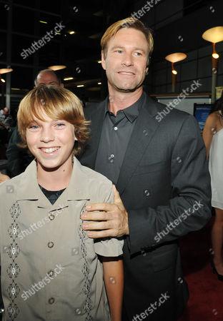 Chase Ellison and Aaron Eckhart