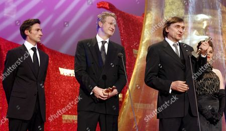 (l-r) German Actor Benjamin Sadler Producer Michael Souvignier German Director Adolf Winkelmann and German Actress Katherina Wackernagel with Their Awards at the Romy Gala 2008 in Vienna Austria 12 April 2008 Austria Vienna