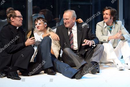 (from Left) Juerg Ratjen As 'Koerber-kent' Philipp Hochmair As 'Hermann Quitt' Rudolf Melichar As 'Von Wullnow' and Markus Meyer As 'Lutz' on Stage During a Rehearsal of the Play 'They Are Dying Out' at the Salzburg Festival Tuesday 08 August 2009 Austria Salzburg