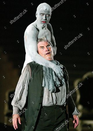 Peter Simonischek As Everyone (front) and Jens Harzer As Death Perform During a Dress Rehearsal For 'Everyone' by Hugo Von Hofmannsthal in Salzburg Monday 19 July 2004 the Premiere of the Play is on Saturday July 24 As Part of the Salzburg Festival Austria Salzburg