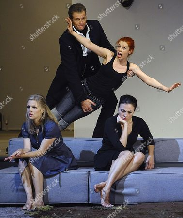 A Picture Dated 25 July 2009 Shows (l-r) Swedish Soprano Miah Persson As 'Fiordiligi' Danish Baritone Bo Skovhus As 'Don Alfonso' French Soprano Patricia Petibon As 'Despina' and Us Mezzo-soprano Isabel Leonard As 'Dorabella' Performing During a Photo Rehearsal of Wolfgang a Mozart's 'Cosi Fan Tutte' in Salzburg Austria the Opera Premieres on 30 July at the House For Mozart As Part of the 2009 Salzburg Festival Austria Salzburg