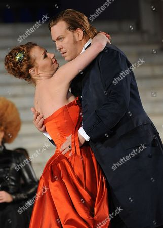 Austrian Actors Nicholas Ofczarek (r) in the Role of Jedermann and Birgit Minichmayr in the Role of Buhlschaft Perform During the Rehearsal For the Play 'Jedermann' (everyman) of Hugo Von Hofmannsthal on 24 July 2011 in Salzburg Austria Each Summer the Front of the Salzburg Cathedral Serves As the Backdrop For the Salzburg Festival's Most Famous Play by Austrian Hugo Von Hofmannsthal's (1874-1929) Jedermann Which Will Premiere on 27 July Austria Salzburg
