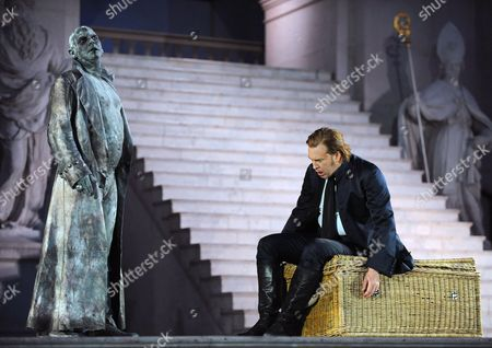 Austrian Actor Nicholas Ofczarek (r) and German Actor Ben Becker (l) During the Rehearsal For the Play 'Jedermann' (everyman) of Hugo Von Hofmannsthal on 24 July 2011 in Salzburg Austria Each Summer the Front of the Salzburg Cathedral Serves As the Backdrop For the Salzburg Festival's Most Famous Play Hugo Von Hofmannsthal's Jedermann Which Will Premiere on 27 July Austria Salzburg