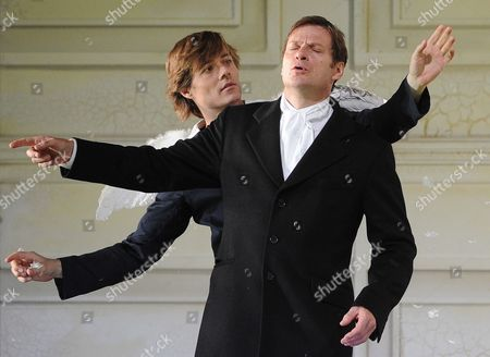 British Baritone Opera Singer Simon Keenlyside in the Role of Il Conte Almaviva (r) and German Actor Uli Kirsch in the Role of Cherubino Perform During the Rehearsal of the Opera 'Le Nozze Die Figaro' For the Salzburg Festival 2011 on in the House of Mozart in Salzburg Austria 20 July 2011 the Salzburg Festival Runs From 27 July Until 28 August Austria Salzburg