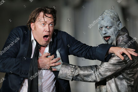 Austrian Actors Nicholas Ofczarek (l) in the Role of Jedermann and Ben Becker in the Role of Death Perform During the Rehearsal For the Play 'Jedermann' (everyman) by Hugo Von Hofmannsthal in Salzburg Austria 19 July 2012 the Salzburg Festival Runs From 20 July Until 02 September 2012 Austria Salzburg