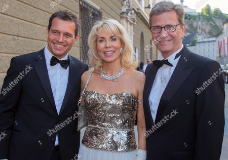 (l-r) Michael Mronz Gabriele Inaara Begum Aga Khan and German Foreign Minister Guido Westerwelle Arrive For the Premiere of the Opera 'Lucio Silla' Composed by Wolfgang Amadeus Mozart During the Salzburg Festival 2013 in Salzburg Austria 27 July 2013 the Festival Runs Until 01 September Austria Salzburg