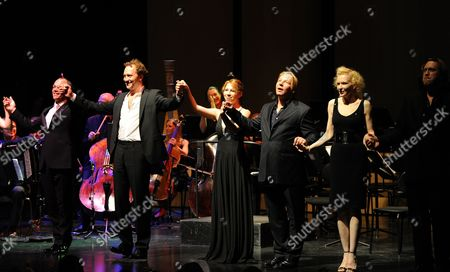 (l-r) British Baritone Christopher Maltman Russian Soloist Mikhail Petrenko Austrian Actress Birgit Minichmayr German Actor Ben Becker German Actress Sunnyi Melles and Austrian Actor Nicholas Ofczarek Acknowledge Applause at the End of the Benefit Concert For the Victims of the Pakistan Floods at the House For Mozart During the Salzburg Festival 2010 in Salzburg Austria 26 August 2010 All the Benefits Will Be Donated to the Initiative 'Nachbar in Not' Austria Salzburg