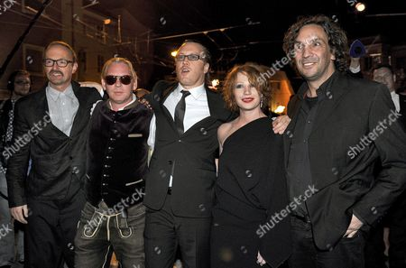 A Picture Dated 25 July 2010 Shows Actors and Cast Members Peter Jordan (l-r) Ben Becker Nicholas Ofczarek Birgit Minichmayr and Director Christian Stueckl Posing at the Party After the Premiere of Hugo Von Hofmannsthal's 'Jedermann' in Salzburg Austria the Piece Premiered As Part of the Salzburg Festival That Runs From 25 July to 30 August Austria Salzburg