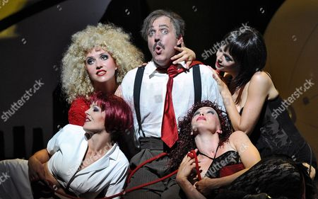 A Picture Dated 23 July 2010 Shows Ukrainian Mezzo-soprano Julia Faylenbogen (l-r) Swedish Soprano Elin Rombo German Baritone Johannes Martin Kraenzle Finnish Mezzo-soprano Virpi Raeisaenen and German Soprano Mojca Erdmann Performing During the Photo Rehearsal of the Opera 'Dionysus' in Salzburg Austria the Opera by Wolfgang Rihm Will Premiere at the Haus Fuer Mozart on 27 July As Part of the Salzburg Festival That Runs From 25 July to 30 August Austria Salzburg