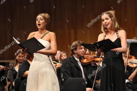 Austrian Mezzo-soprano Elisabeth Kulman (l) and German Soprano Mojca Erdmann (r) Perform at the Official Opening of the Salzburg Festival in Salzburg Austria 26 July 2010 the Festival Runs Until 30 August Austria Salzburg