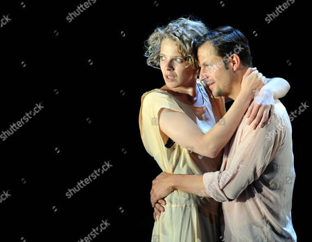 Polish-born German Actress Patrycia Ziolkowska (l) and Austrian Actor Philipp Hochmair Perform During Rehearsals For Johann Wolfgang Von Goethe's 'Faust i and Ii' on the Perner-insel (perner-island) at Hallein Austria 20 July 2011 the Production by German Theatre Director Nicolas Stemann is to Be Premiered As Part of the Salzburg Festival on 28 July the Festival Takes Place From 27 July to 30 August Austria Hallein
