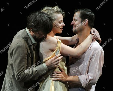 German Actor Sebastian Rudolph (l-r) Polish-born German Actress Patrycia Ziolkowska and Austrian Actor Philipp Hochmair Perform During Rehearsals For Johann Wolfgang Von Goethe's 'Faust i and Ii' on the Perner-insel (perner-island) at Hallein Austria 20 July 2011 the Production by German Theatre Director Nicolas Stemann is to Be Premiered As Part of the Salzburg Festival on 28 July the Festival Takes Place From 27 July to 30 August Austria Hallein