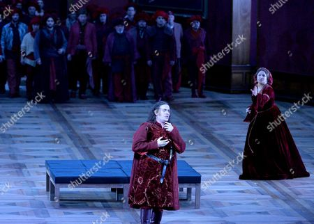 Russian Soprano Anna Netrebko (r) As Leonora and Italian Tenor Francesco Meli (l) As Manrico Perform During the Rehearsal of 'Il Trovatore' (the Troubadour) at the Grosses Festspielhaus (large Festival Hall) in Salzburg Austria 04 August 2014 the Opera Will Premiere on 09 August As Part of the Salzburg Festival That Runs From 18 July to 31 August Austria Salzburg