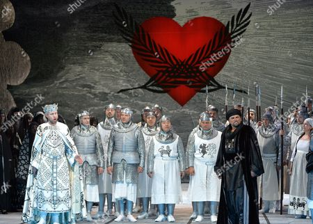 (l-r) German Bass Georg Zappenfeld As 'King Karl' and Canadian Tenor Michael Schade As 'Fierrabras' Perform During the Rehearsal of Austrian Composer Franz Schuberts 'Fierrabras' in Salzburg Austria 09 August 2014 the Opera Will Premiere on 13 August 2014 As Part of the Salzburg Festival That Runs From 18 July to 31 August Austria Salzburg