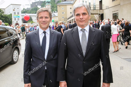Austrian Minister For Cultural Affairs Josef Ostermayer (l) and Austrian Chancellor Werner Faymann (r) Attend the Official Opening Ceremony of the 2014 Salzburg Festival at the Felsenreitschule Theater in Salzburg Austria 27 July 2014 the Festival Runs Until 31 August Austria Salzburg