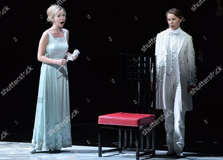 (l-r) Mojca Erdmann As 'Sophie' and Sophie Koch As 'Octavian' During the Rehearsal of 'Rosenkavalier' in Salzburg Austria 28 July 2014 the Play Will Premiere on 1 August During the Annual Salzburg Festival That Runs From 18 July to 31 August Austria Salzburg