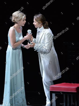 (l-r) Mojca Erdmann As 'Sophie' and Sophie Koch As 'Octavian' During the Rehearsal of 'Rosenkavalier' in Salzburg Austria 28 July 2014 the Play Will Premiere on 01 August During the Annual Salzburg Festival That Runs From 18 July to 31 August Austria Salzburg