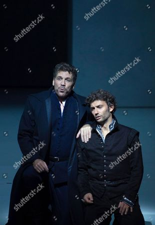 A Picture Made Available on 14 August 2013 Shows Thomas Hampson As 'Rodrigo Marchese Di Posa' and Jonas Kaufmann (r) As 'Don Carlo' and Anja Harteros As 'Elisabetta Di Valois' Performing During a Photo Rehearsal of the Opera 'Don Carlo' As Part of the Salzburg Festival 2013 in Grosses Festspielhaus in Salzburg Austria 08 August 2013 Austria Salzburg