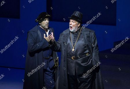 A Picture Made Available on 14 August 2013 Shows Thomas Hampson As 'Rodrigo Marchese Di Posa' and Matti Salminen As 'Filippo Ii' Performing During a Photo Rehearsal of the Opera 'Don Carlo' As Part of the Salzburg Festival 2013 in Grosses Festspielhaus in Salzburg Austria 08 August 2013 Austria Salzburg