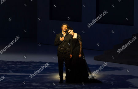 A Picture Made Available on 14 August 2013 Shows Jonas Kaufmann (l) As 'Don Carlo' and Anja Harteros As 'Elisabetta Di Valois' Performing During a Photo Rehearsal of the Opera 'Don Carlo' As Part of the Salzburg Festival 2013 in Grosses Festspielhaus in Salzburg Austria 08 August 2013 Austria Salzburg