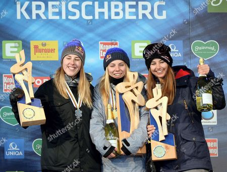 Silver Medalist Katie Summerhayes of Britain (l-r) Gold Medalist Lisa Zimmermann of Germany and Bronze Medalist Zuzana Stromkova of Slovakia Celebrate on the Podium After the Women's Ski Slopestyle Finals at the Fis Freestyle Ski and Snowboard World Championships 2015 in Kreischberg Austria 21 January 2015 Austria Kreischberg