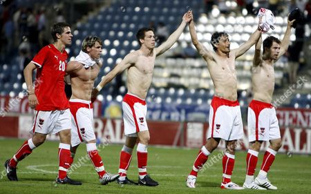 Austria's Players From L-r Martin Harnik Christoph Leitgeb Roland Linz Ivica Vastic and Andreas Ivanschitz Celebrate After Beating Malta 5-1 30 May 2008 During the Friendly Soccer Match Austria Vs Malta in Graz Austria 30 May 2008 Austria Graz