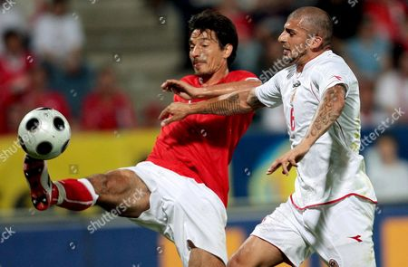 Austria's Ivica Vastic (l) Struggles with Malta's Luke Dimech 30 May 2008 During the Friendly Soccer Match Austria Vs Malta in Graz Austria 30 May 2008 Austria Graz