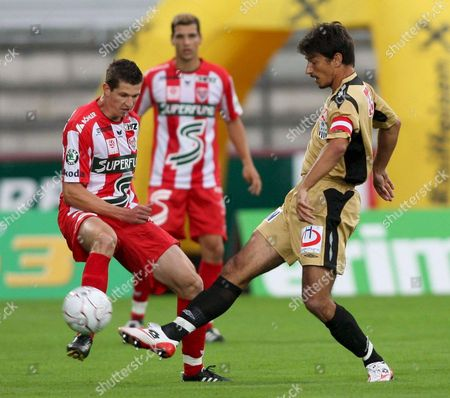 (l-r) Andreas Lienhart Karpfenberg Vies with Ivica Vastic Lask During the Bundesliga Match Between the Kapfenberger Sv Superfund and Lask Linz in Kapfenberg Austria 09 July 2008 Austria Kapfenberg