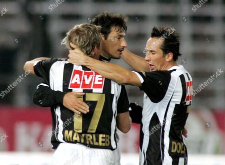 Christian Mayrleb (l) Ivica Vastic (c) and Matthias Dollinger (r) of Linz Celebrate a Goal For Their Team During Their Austrian Bundesliga Soccer Match Lask Linz Vs Wacker Innsbruck in Linz Austria 31 October 2007 Austria Linz