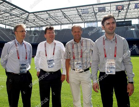 (l-r) Manager of the Euro 2008 Stadium Colin Smith Manager of the Euro Organising Organisation Martin Kaller the Stadium's Curator Wolfgang Becker and Austrian Director of the Tournament Christian Schmoelzer Are Pictured on the Occasion of the Euro 2008 Stadium to the Press in Wals-siezenheim Near Salzburg Austria on 31 May 2008 the 2008 Uefa European Football Championship Will Take Place in Austria and Switzerland From 07 June to 29 June 2008 Austria Salzburg