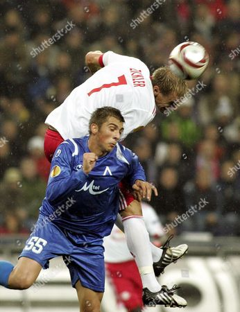 Yordan Miliev (l) of Levski Sofia is Beaten to the Header by Alexander Zickler of Salzburg During the Uefa Europa League Match Between Red Bull Salzburg and Levski Sofia at the Wals-siezenheim Stadium in Salzburg Austria 22 October 2009 Austria Salzburg