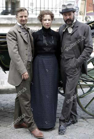 Stock Photo of (l-r) Austrian Actor Philipp Hochmair As 'Arthur Von Suttner' Austrian Actress Birgit Minichmayr As 'Bertha Von Suttner' and German Actor Sebastian Koch As 'Alfred Nobel' Pose For Photographers During a Photocall to the Television Production of 'Madame Nobel' in Vienna Austria 26 May 2014 the Tv Movie is Scheduled to Be Released in December 2014 Austria Vienna