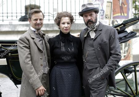 (l-r) Austrian Actor Philipp Hochmair As 'Arthur Von Suttner' Austrian Actress Birgit Minichmayr As 'Bertha Von Suttner' and German Actor Sebastian Koch As 'Alfred Nobel' Pose For Photographers During a Photocall to the Television Production of 'Madame Nobel' in Vienna Austria 26 May 2014 the Tv Movie is Scheduled to Be Released in December 2014 Austria Vienna