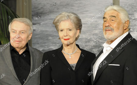 Stock Image of (l-r) Czech-austrian Novelist Pavel Kohout Italian German Actor Mario Adorf in the Role of Martin Burian and Austrian Actress Christiane H÷rbiger in the Role of Margarete K?mmerer in the Role of Sylva Burian During a Photocall For the Novel Adaptation 'Die Lange Welle Hinterm Kiel' (the Long Wave Behind the Keel) at the Filmstadt Wien in Vienna Austria 10 November 2010 the Novel was Written by Czech-austrian Novelist Pavel Kohout Austria Vienna