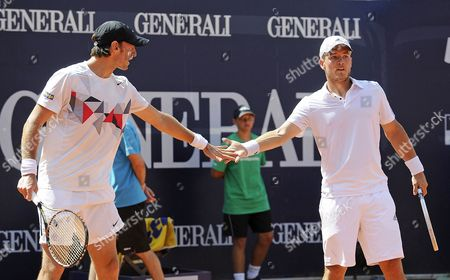 Germany's Christopher Kas (l) and Martin Emmrich (r) Shake Hands During Their Men's Double Final Match Against Czech Republic's Lukas Dlouhy and Frantisek Cermak at the Atp Tennis Tournament in Kitzbuehel Austria 03 August 2013 Austria Kitzbuehel