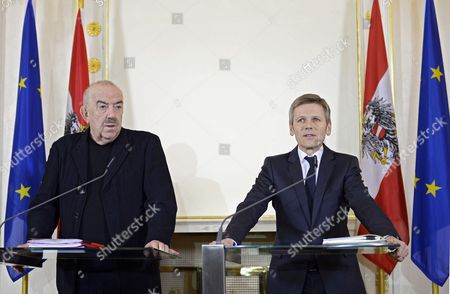 Austrian Culture Minister Josef Ostermayer (r) and Georg Springer Ceo of the Federal Theater Holding and Head of the Board of Directors of Burgtheater Speak During a Press Conference in Vienna Austria 11 March 2014 Matthias Hartmann the Director of Vienna's Burgtheater Has Been Discharged Due to Financial Irregularities in the Management of the Theater Austria Vienna