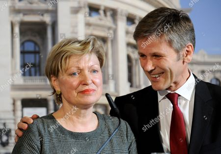 New Intendant of Vienna's Burgtheater Karin Bergmann (l) and Austrian Secretary of State For Culture Josef Ostermayer (r) Participate in a News Conference in Vienna Austria 19 March 2014 Bergmann Replaces the Recently Discharged Intendant of Burgtheater Matthias Hartmann Austria Vienna