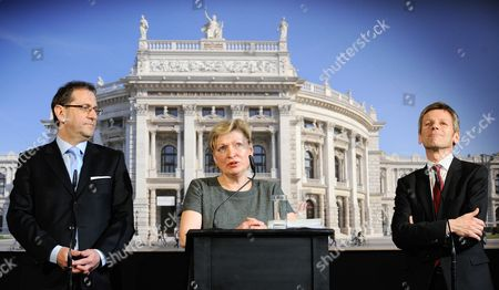 Head of the Theater's Directorate Christian Strasser (l) New Intendant of Vienna's Burgtheater Karin Bergmann (c) and Austrian Secretary of State For Culture Josef Ostermayer (r) Participate in a News Conference in Vienna Austria 19 March 2014 Bergmann Replaces the Recently Discharged Intendant of Burgtheater Matthias Hartmann Austria Vienna