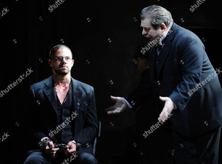 Stock Picture of A Picture Made Available on 04 April 2014 Shows Austrian Actors Erwin Steinhauer (r) As Leo Pfeffer and Josef Ellers (l) As Gavrilo Princip Performing During the Rehearsal of Herbert Foettinger's 'Die Schuesse Von Sarajevo' at the Josefstadt Theatre in Vienna Austria 31 March 2014 the Play Premiered on 03 April Austria Vienna