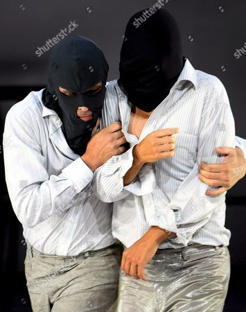 Actors Alexander Simon (l) and Philipp Hochmair As 'Robbers' Perform on Stage During the Rehearsal of the Play 'Die Raeuber' (the Robbers) After the Original by German Playwright Friedrich Schiller in Salzburg Austria 13 August 2008 the Play Premieres on 15 August As Part of the Salzburg Festival Austria Salzburg