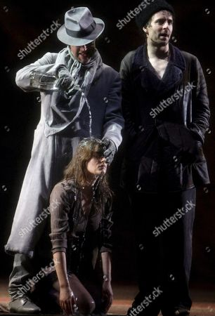 (l-r) Sven-eric Bechtolf As Svidrigailov Marie Burchard As Dunya and Jens Harzer As Raskolnikov on Stage During the Rehearsal of 'Crime and Punishment' in Salzburg Austria 23 July 2008 Adapted From the Novel by Russian Author Fyodor Dostoevsky the Play Will Premiere at the Landestheater on 26 July As Part of the Salzburger Festpspiele (salzburg Festival) Austria Salzburg