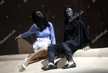 Stock Image of Actor Martin Wuttke and Actress Birgit Minichmayr Perform on Stage During a Dress Rehearsal of Rene Pollesch's Play 'Cavalcade Or Being a Holy Motor' at Akademie Theater in Vienna Austria 24 September 2013 the Play Will Premiere on 25 September Austria Vienna