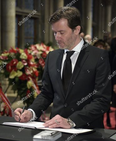 John Juergens the Son of Late Austrian Entertainer Udo Juergens Signs the Condolence Book During the Funeral Ceremony For His Father in Vienna Austria 22 January 2015 Juergens Died on 21 December 2014 of Acute Heart Failure in Muensterlingen Switzerland at the Age of 80 Austria Vienna