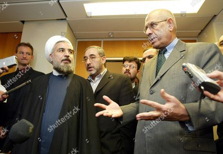 United Nations Nuclear Watchdog Chief Mohamed El Baradei (r) and Iran's Supreme National Security Council Chief Hassan Rohani Brief Media After Their Meeting at the Un Building in Vienna Following Talks on Iran's Nuclear Programme Saturday 08 November 2003 Austria Vienna