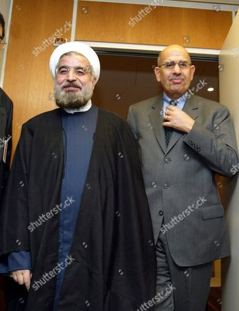 Repeat with Name of Iranian Security Council Chief United Nations Nuclear Watchdog Chief Mohamed El Baradei (r) and Iran's Supreme National Security Council Chief Hassan Rohani After Their Meeting at the Un Building in Vienna For Talks on Iran's Nuclear Programme Saturday 08 November 2003 Austria Vienna