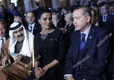 His Highness the Emir of the State of Qatar Hamad Bin Khalifa Al-thani (l) with His Wife Sheikha Mozah Bint Nasser Al Missned and Turkish Prime Minister Recep Tayyip Erdogan (r) During the 5th Global Forum of the United Nations Alliance of Civilizations in Vienna Austria 27 February 2013 the Global Forum of Unaoc 2013 Runs From 27 to 28 February Austria Vienna