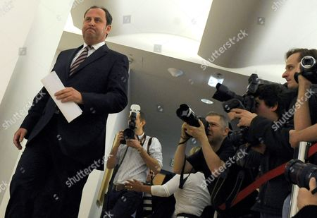 Under Media Scrutiny Austrian Vice Chancellor Finance Minister and Leader of Austrian Peoples Party Josef Proell Arrives to Give a Press Statement on 13 April 2011 in Vienna During Which He Announced His Resignation From All Political Positions He Said He was Leaving For Health Reasons Last Month He Suffered a Pulmonary Embolism While Skiing Austria Vienna