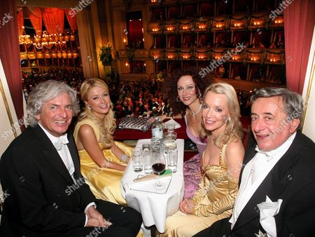 Stock Picture of (l-r) Austrian Businessman Guenther Aloys Us Socialite Paris Hilton Christina Lugner Sissy Aloys and Austrian Businessman Richard Lugner Sit in Their Loge During the Vienna Opera Ball Thursday 15 February 2007 in Vienna Austria Vienna